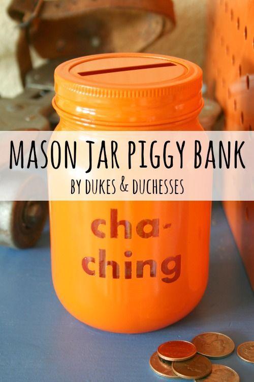 a mason jar piggy bank