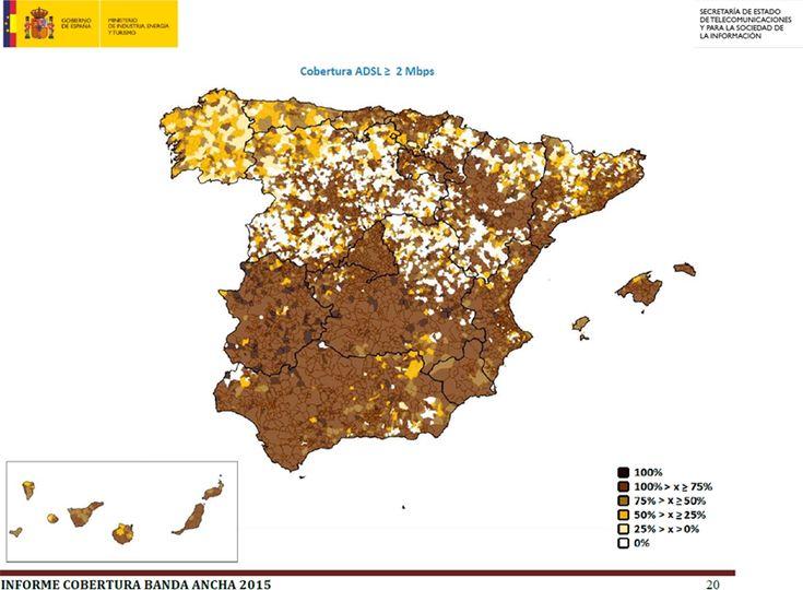 Comunidades rurales: inteligentes y amigables con las personas mayores. Mapa de cobertura ADSL ≤ 2Mbps.Informe SETSI 1er. Trimestre 2015.