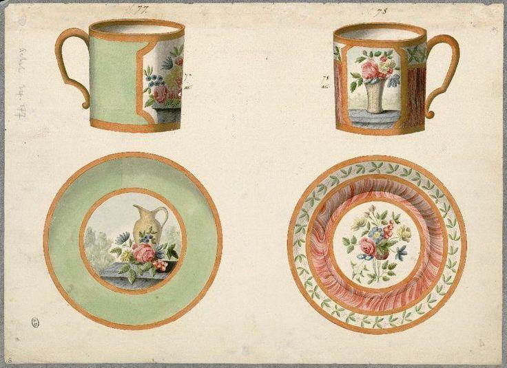[modèles de tasses litron et soucoupes] | Centre de documentation des musées - Les Arts Décoratifs