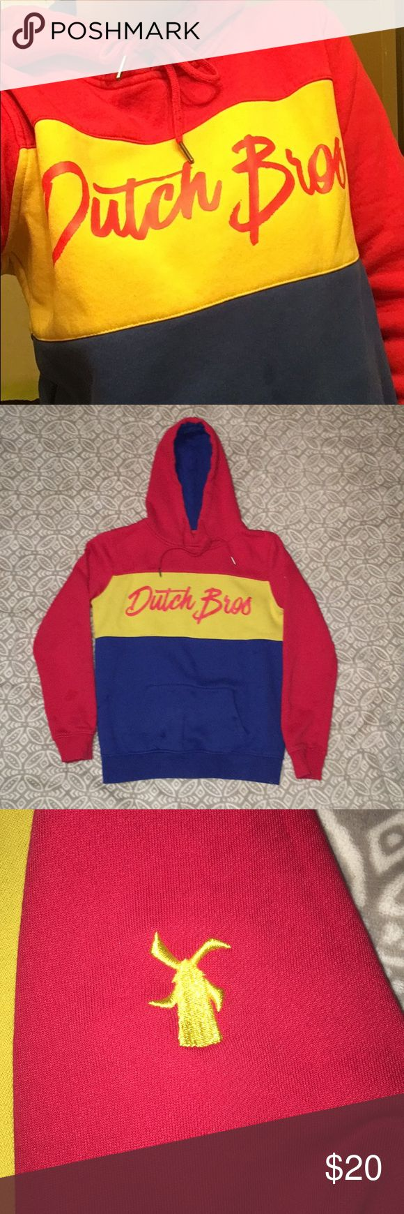 Dutch Bros employee sweatshirt *Very warm Dutch Bros sweatshirt *Thick material  *There are some stains on this sweatshirt, which I pictured above. They are really only noticeable if you know what you're looking for  *This is a perfect sweatshirt if you are also a barista just wanting something to keep you warm *It is still very soft on the inside, fleece isn't worn down *As always, price is negotiable Dutch Bros Tops Sweatshirts & Hoodies