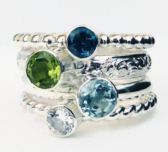 4 Stacking Rings  Stackable Rings  Gemstone by GizmosTreasures, $159.00