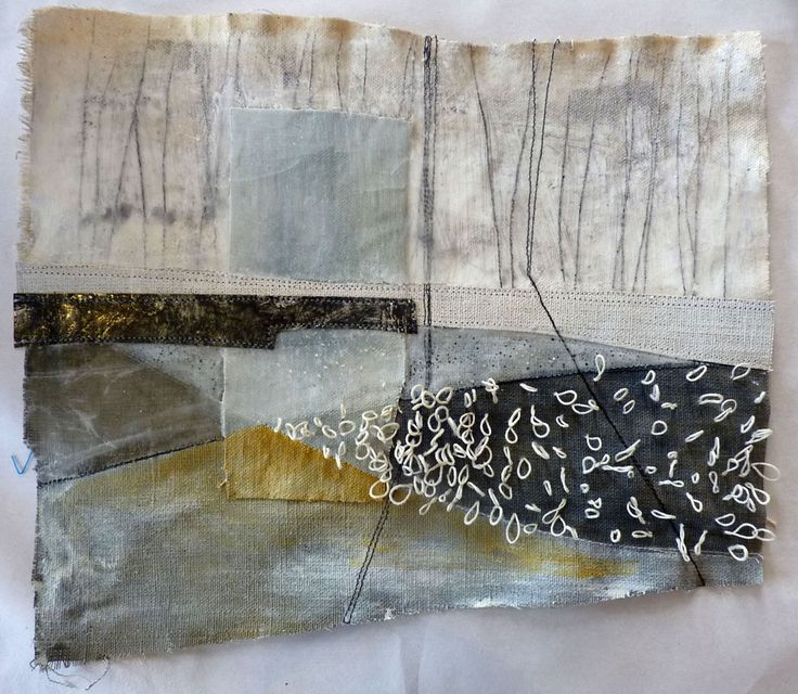 Marshscape Collage #11, Cotton duck, linen, wax, metal, linen thread