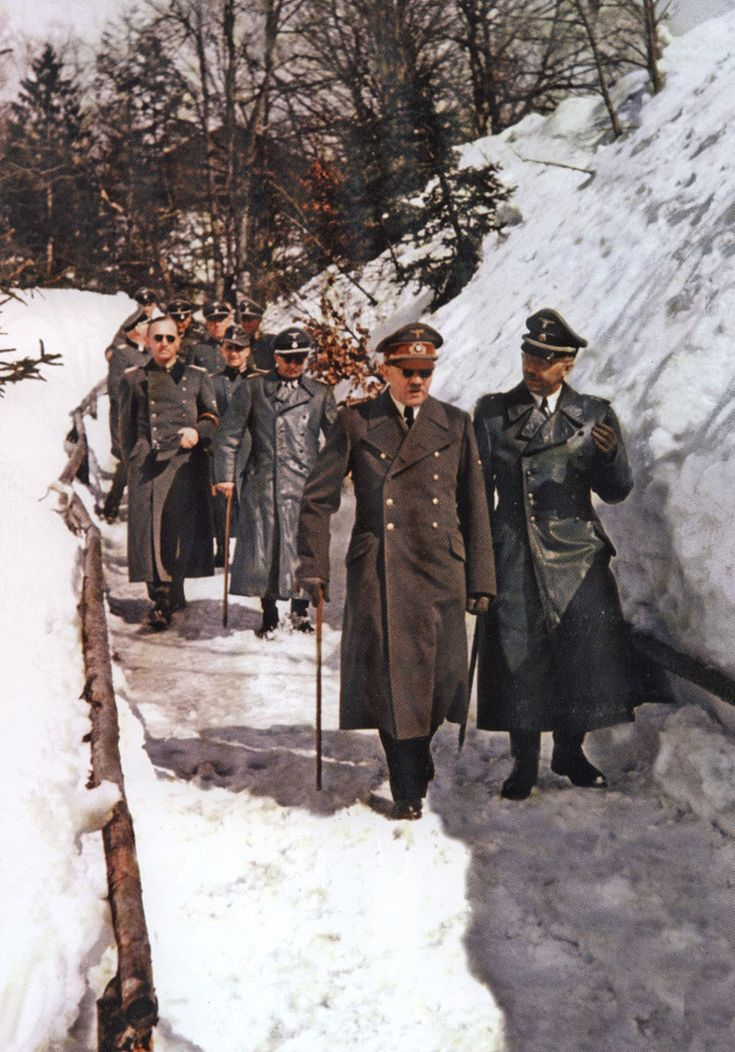 Nazi Third Reich Hitler Walking In The Snow Alongside Himmler With Aid Of A Walking Stick