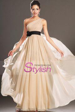2015 One Shoulder A Line Prom Dress Chiffon With Ruffles And Beads Floor Length $ 129.99 STPEYN3LJM - StylishPromDress.com