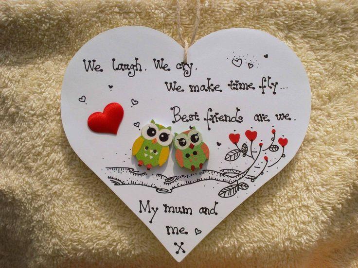 Shabby chic Personalised Wooden Heart Plaque handmade Gift for Mum Friend | eBay
