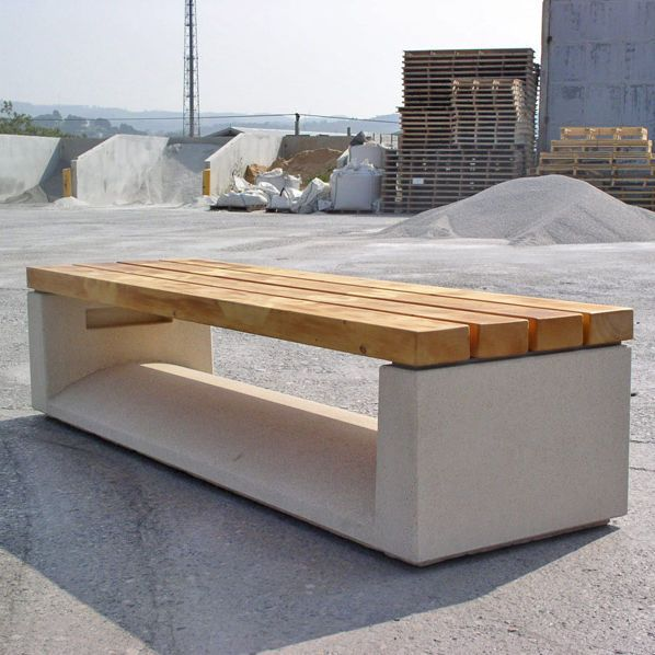 Public bench / contemporary / wooden / engineered stone U-SHAPE by Arkitema Architects Escofet