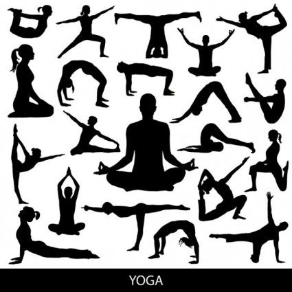 yoga silhouette 03 vector