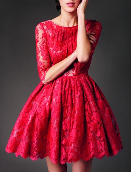 red lace dress / erdem