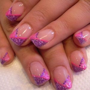 Pink Purple Colored for French Tip Nail Design   Nails ...