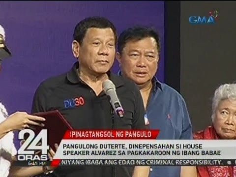 24 Oras: Pangulong Duterte, dinepensahan si House Speaker Alvarez sa pagkakaroon ng ibang babae - WATCH VIDEO HERE -> http://dutertenewstoday.com/24-oras-pangulong-duterte-dinepensahan-si-house-speaker-alvarez-sa-pagkakaroon-ng-ibang-babae/   24 Oras is GMA Network's flagship newscast, anchored by Mike Enriquez, Mel Tiangco and Vicky Morales. It airs on GMA-7 Mondays to Fridays at 6:30 PM (PHL Time) and on weekends at 5:30 PM. For more videos from 24 Oras, visit  Subscribe