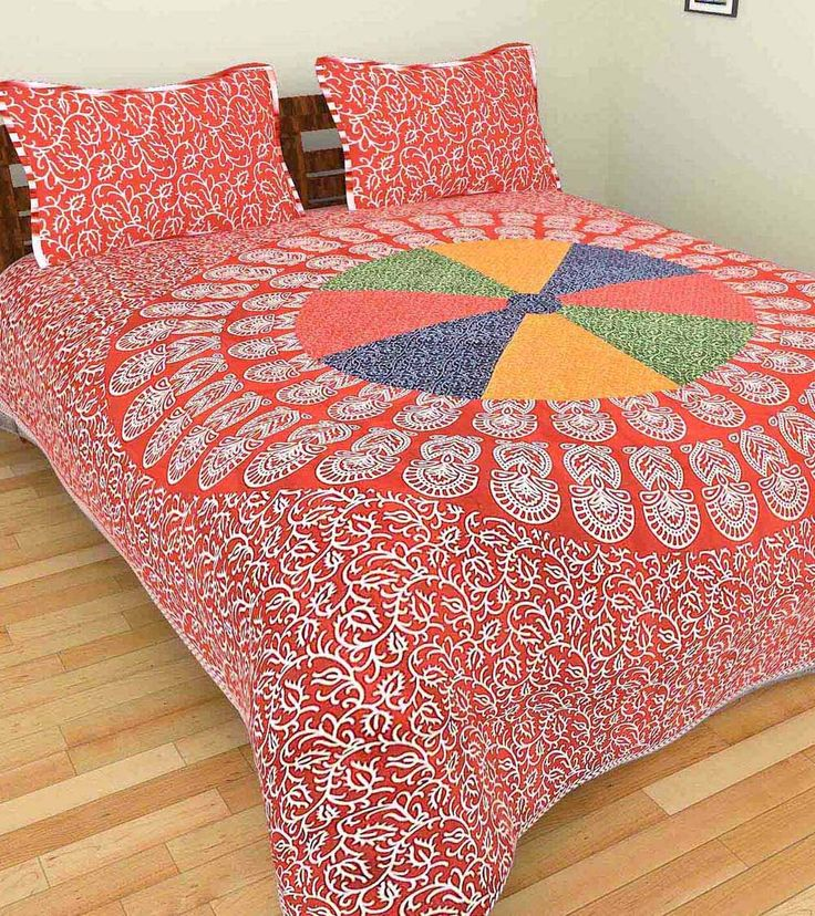 Red Hand Block Printed Cotton Double Bed Linen With Two Pillow Covers #indianroots #homdecor #bedlinen #pillowcover #cotton #blockprint #printed