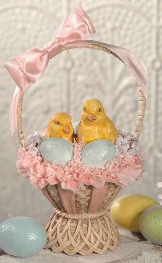 Bethany Lowe Chicks in a Fancy Basket Easter Centerpiece or Figure