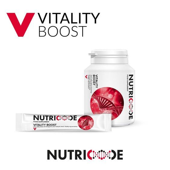 Nutricode Vitality Boost Code: 801003 Visit the WebShop http://membersfm.com/michelle-brandon Capacity: 30 SACHETS (300g) + 60 COATED TABLETS (48g) FOOD SUPPLEMENT which is a composition of perfectly matched ingredients, which affect the flow of physical and mental energy throughout the day. - your daily dose of energy for the body & mind - vitality rejuvenation The Pack contains:  - 60 day liquid sachets - orange flavour - 300g - 60 coated tablets - 48g