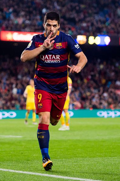Luis Suarez of FC Barcelona celebrates after scoring his team's sixth goal…