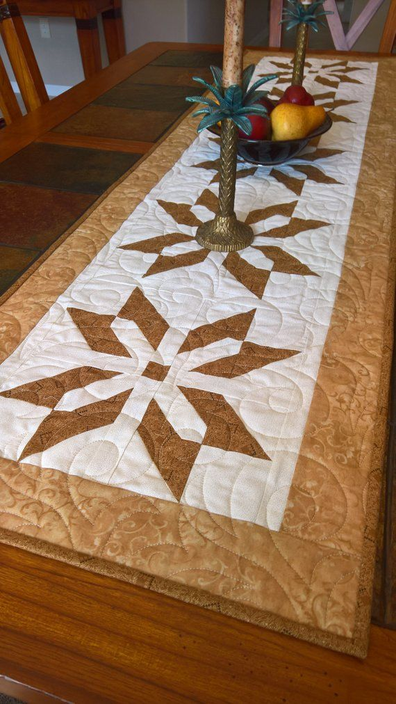 Golden Stars Quilted Tablerunner Quilted Table Runners Christmas Quilted Table Runners Christmas Table Runner