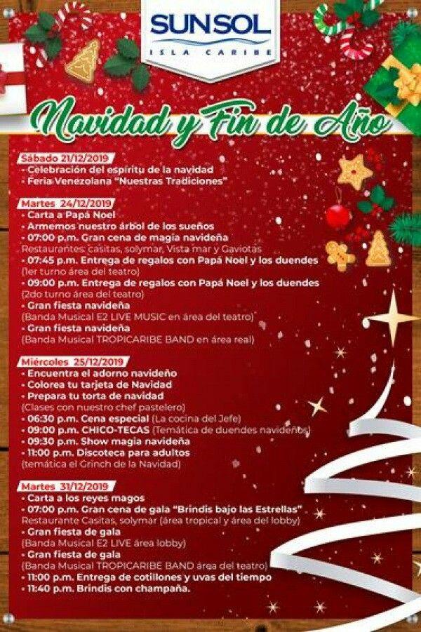 Programación Navidad Y Fin De Año Sunsol Hoteles Disponible En Hotel Sunsol Isla Caribe Detalles Mínimo 3 Noches Para Navidad Mí Water Bottle Food