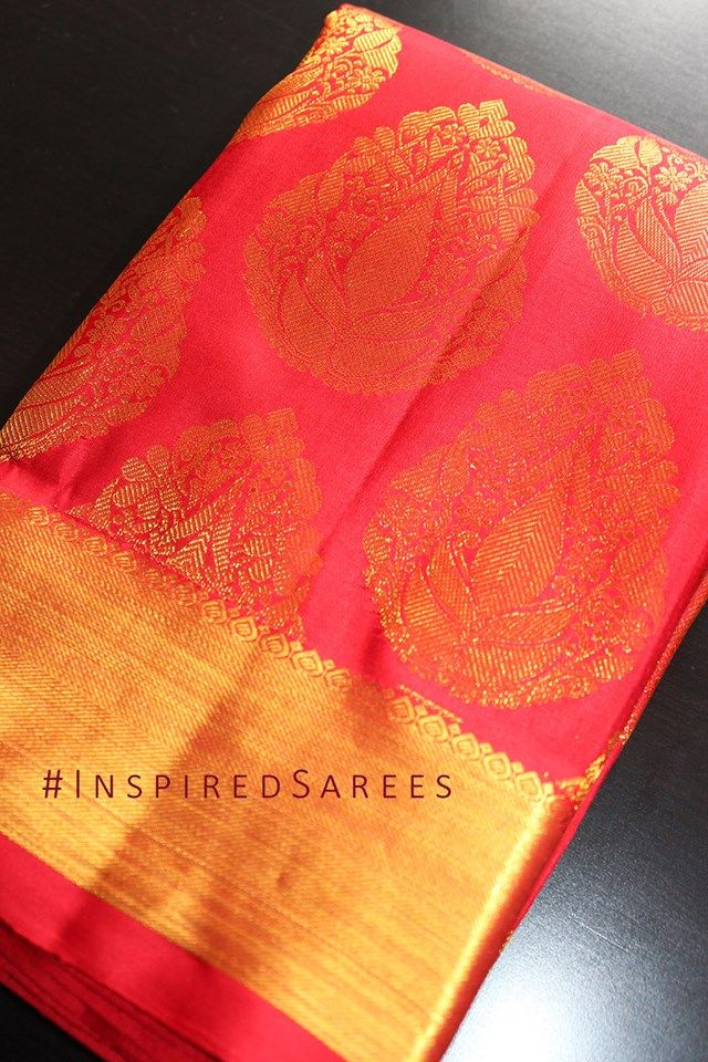 Koorai Saree Chilli Red Mango Pattern. https://www.facebook.com/inspiredsarees https://www.instagram.com/inspiredsarees/
