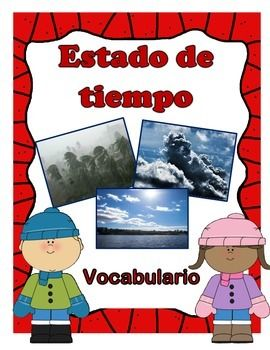 Teach students about the weather with these colorful vocabulary cards. Each card includes a definitions easy for students to understand and real life pictures.   Words include: Estado de tiempo Nube Instrumentos meteorologicos temperature precipitación viento patron del estado de tiempo ciclo del agua evaporar condensación estación del año letargo hibernar migrar  Print 8x11 laminate and cut