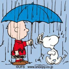 'Happy Dance' in the Rain, Charlie Brown and Snoopy.