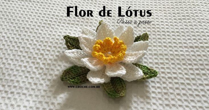 Flor de Lótus passo a passo   Croche.com.br