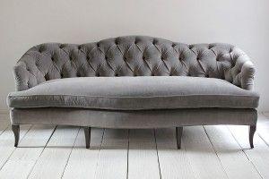 Classic Grey Tufted Sofa