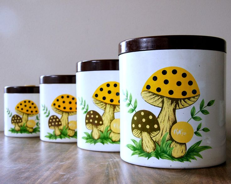 Sears Merry Mushroom, Vintage Canister Set, Mushroom Decor, Kitschy Kitchen  By SentimentalFavorites On