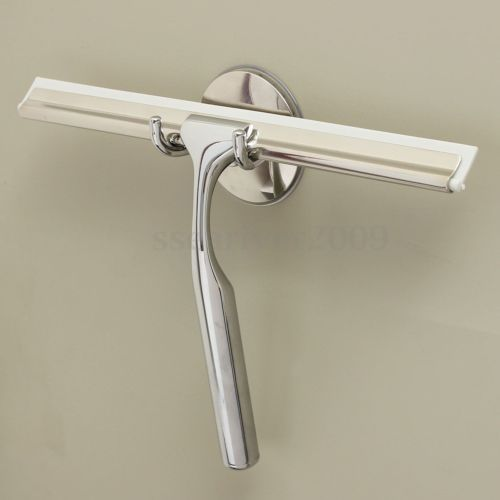 Stainless Window Glass Wiper Cleaner Squeegee Shower Wall Bathroom Mirror  +Holer