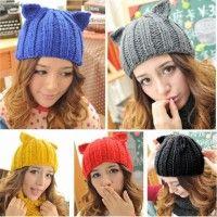 Invierno cálido diablo cuerno sombreros de punto femenino del sombrero de la señora Gril de mujeres coreanas nuevos