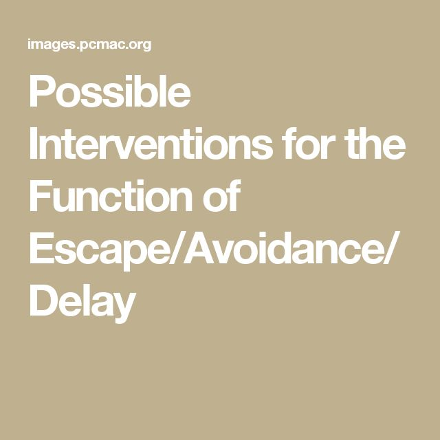 Possible Interventions for the Function of Escape/Avoidance/Delay