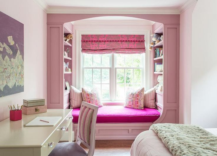 Chic Pink Girl S Bedroom Features A Pink Wainscoted