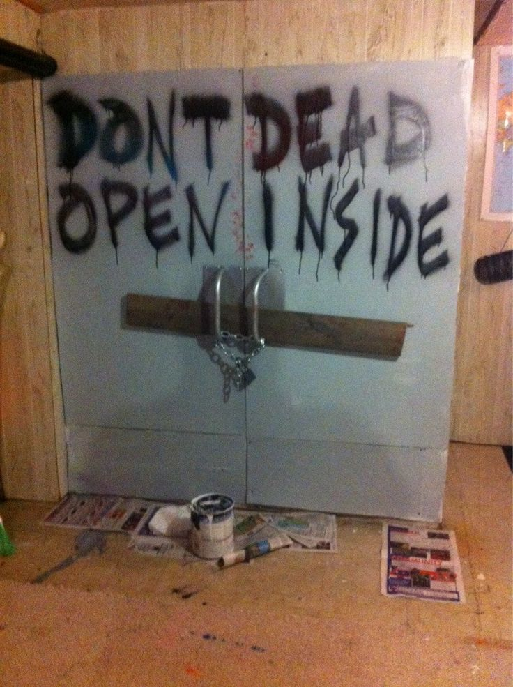 ideas for throwing a walking dead halloween party - Cardboard Halloween Decorations