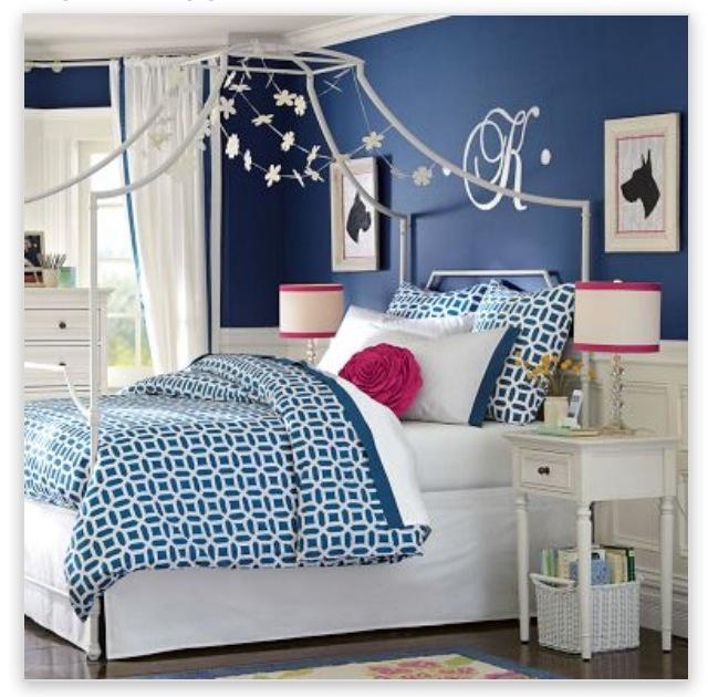 Navy White Girls Room Pbteen Dream Homes Rooms Bedroom