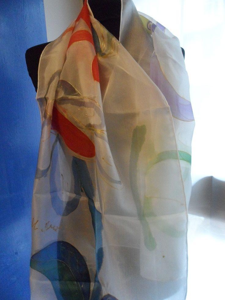 Incanto - Sciarpa di Seta Dipinta a Mano Pezzo Unico