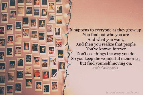 Nicholas Sparks Quote. Great photo wall idea. Truth
