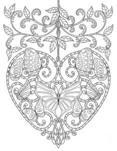 detailed hard floral heart pattern coloring pages for adults - Coloring Pages Hard