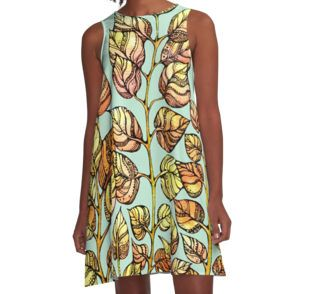A-Line Dress .Hand drawn watercolor golden leaves pattern  from kanvisstyle design  #redbubble,  #flowers , #pattern, #draw, #handdrawn, #watercolor