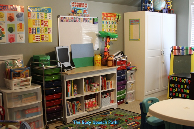 I love my speech therapy home office! My boys can play while I plan my lessons!- Emily from The Busy Speech Path