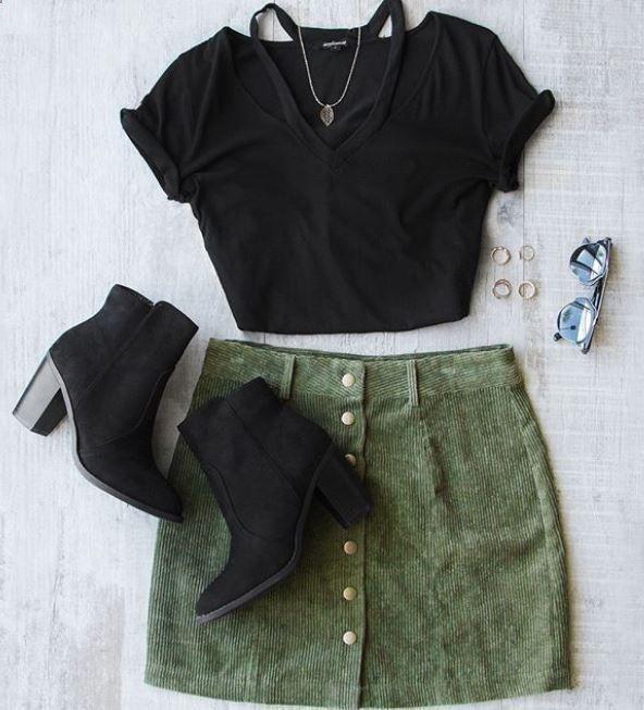 Women's Skirts – #womensskirts  – Sara Snap Front Corduroy Mini Skirt in Olive W…