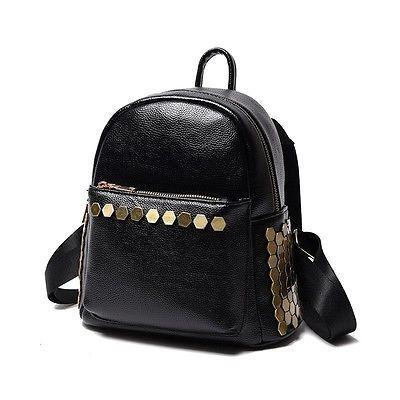 Rucksack Golden Black Damenrucksack Leder-Optik Nieten Gold Trend