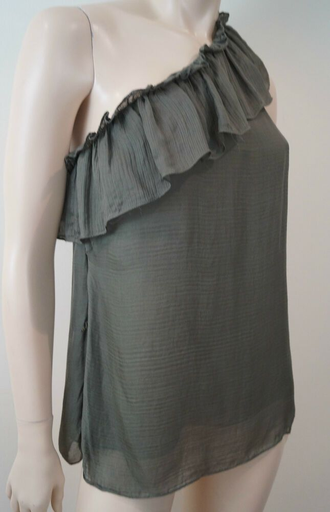67a147b2c06 MILLY OF NEW YORK Khaki Olive Green Silk Ruffle Trim One Shoulder Top US8  UK12 #fashion #clothing #shoes #accessories #womensclothing #tops (ebay  link)