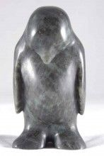 Front view of shy penguin soapstone sculpture by Canadian Sculptor Kim S. Warne