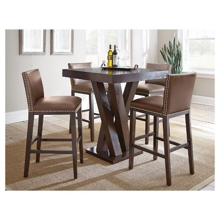 5 Piece Whitney Bar Height Dining Table Set Wood Chocolate