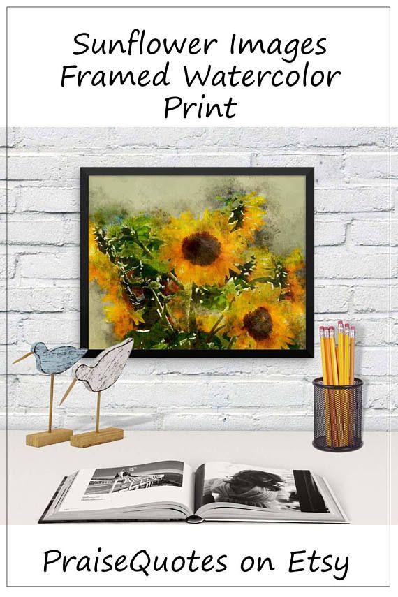 Sunflower Images Wall Art Decor Sunflower Watercolor