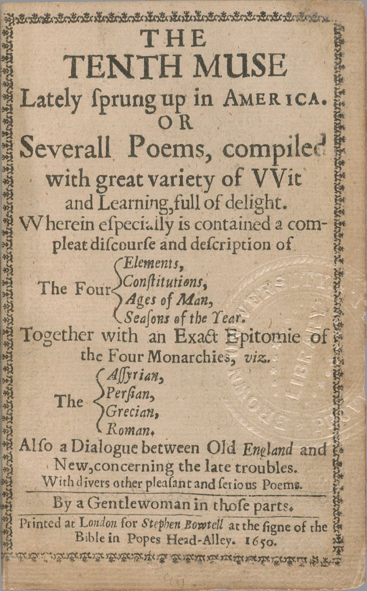 an examination of the poem the author to her book by anne bradstreet Technical analysis of the author to her book literary devices and the technique of anne bradstreet.
