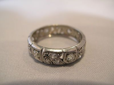 Fab Antique Platinum Mine Diamond Eternity Anniversary Wedding Band Ring | eBay