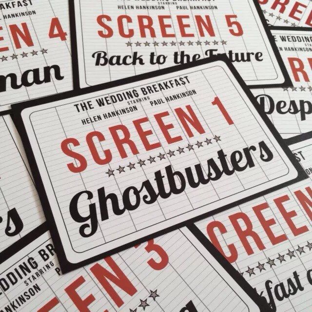 Movie / Cinema / Film themed Wedding Table Name Signs by DesignedByJoe on Etsy https://www.etsy.com/uk/listing/262802671/10-personalised-movie-cinema-film-themed