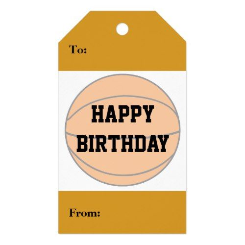 Happy Birthday BasketBall Player Sport Athlete Gift Tags