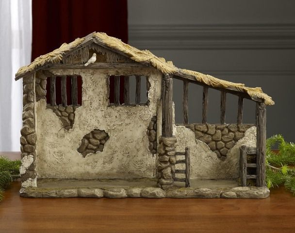 "Stable for The 7"" Real Life NativityThe stable is designed to capture the reality of the humble stable where Jesus was born. The stable depicts stone and stucco walls, weathered log beams and posts an"