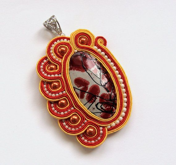Big soutache pendant handmade embroidered in red by SaboDesign.