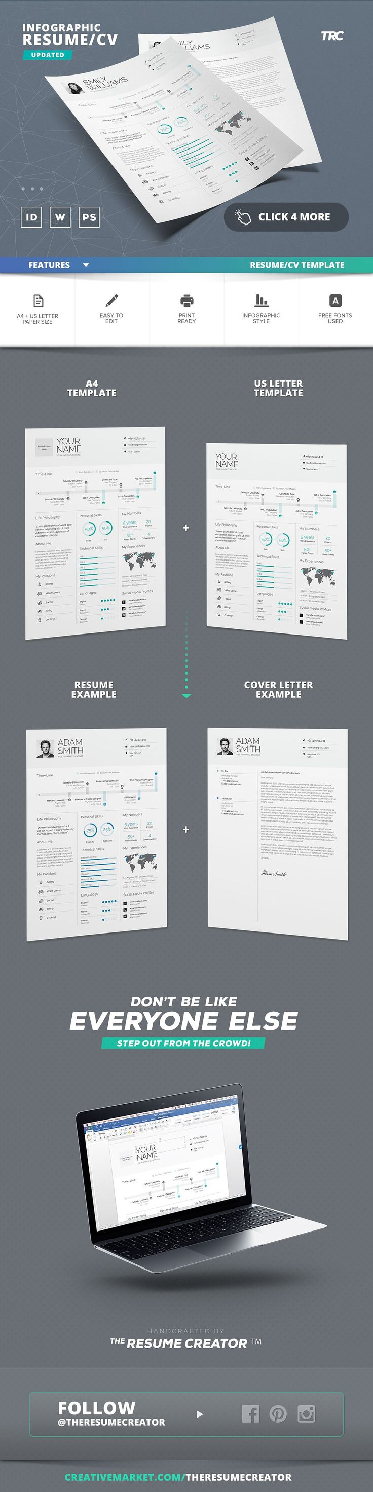 letter of resignation free template%0A Infographic Resume Cv Template Vol